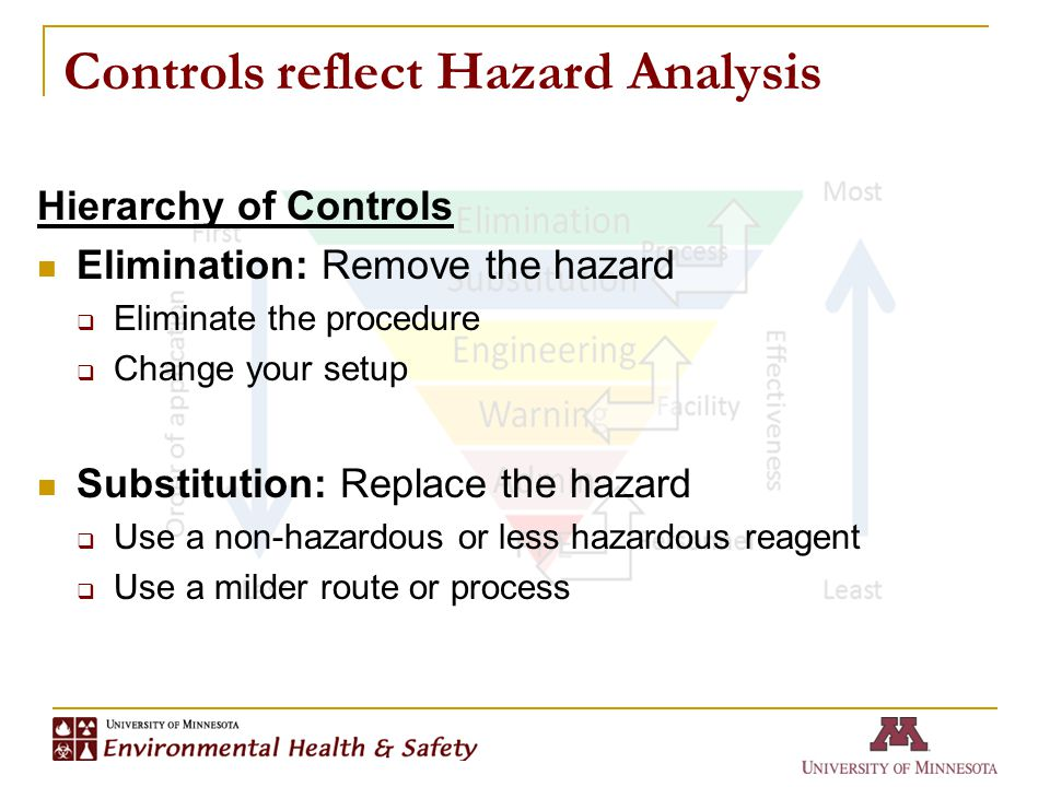 Controls reflect Hazard Analysis Hierarchy of Controls Elimination: Remove the hazard  Eliminate the procedure  Change your setup Substitution: Replace the hazard  Use a non-hazardous or less hazardous reagent  Use a milder route or process