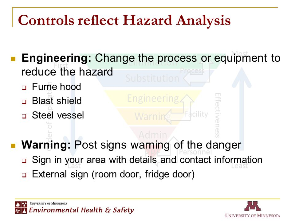 Controls reflect Hazard Analysis Engineering: Change the process or equipment to reduce the hazard  Fume hood  Blast shield  Steel vessel Warning: Post signs warning of the danger  Sign in your area with details and contact information  External sign (room door, fridge door)