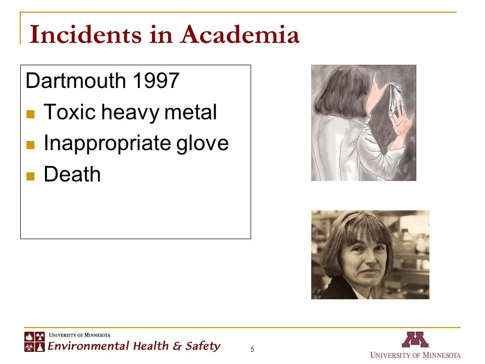 Incidents in Academia 5 Dartmouth 1997 Toxic heavy metal Inappropriate glove Death