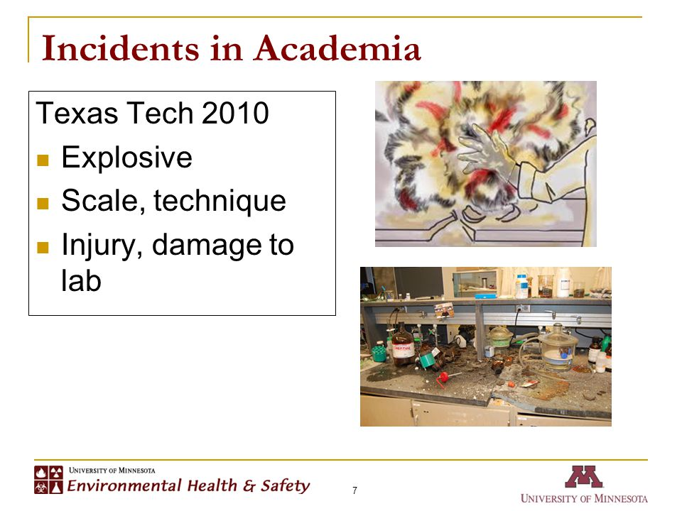 Incidents in Academia 7 Texas Tech 2010 Explosive Scale, technique Injury, damage to lab