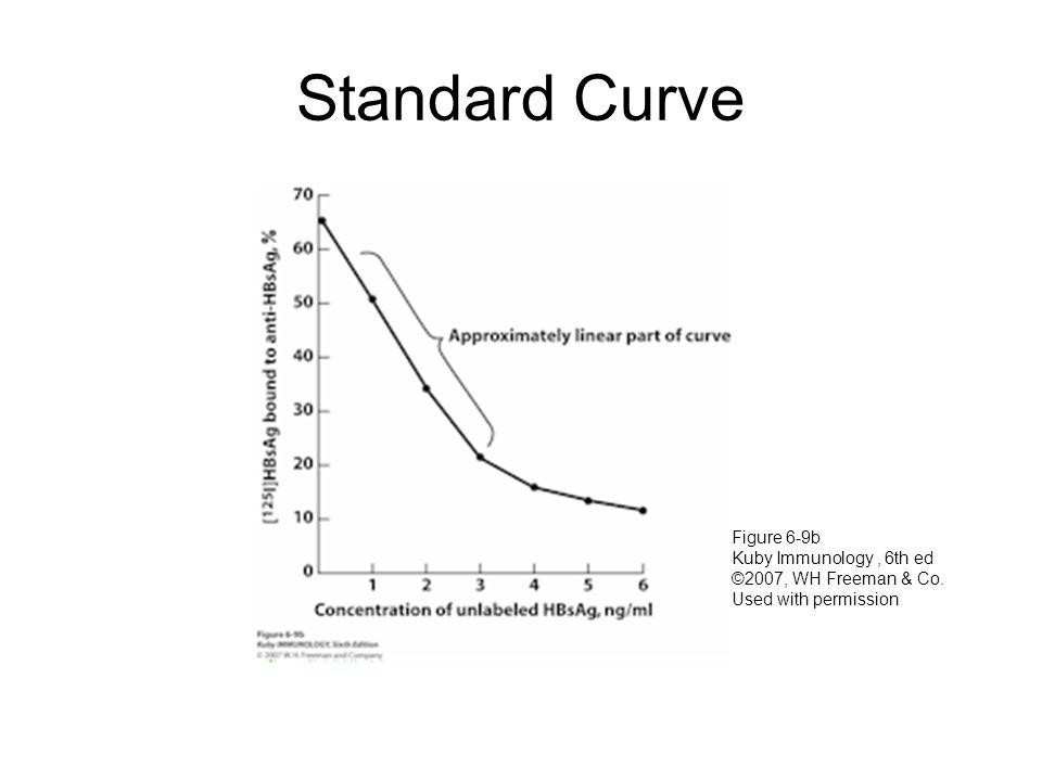 Standard Curve Figure 6-9b Kuby Immunology, 6th ed ©2007, WH Freeman & Co. Used with permission