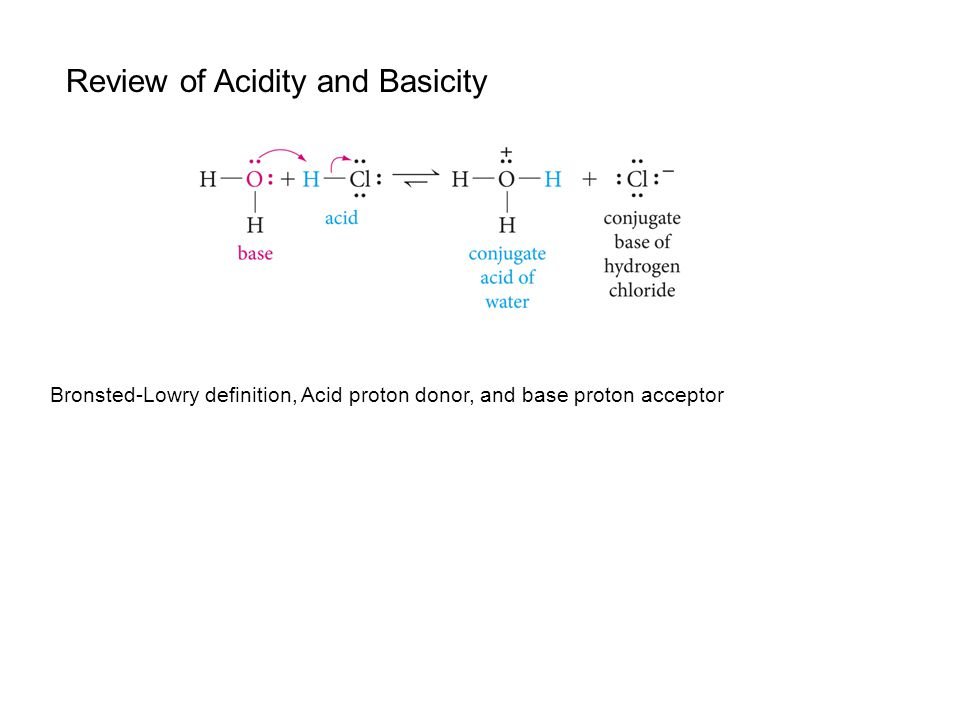 Review of Acidity and Basicity Bronsted-Lowry definition, Acid proton donor, and base proton acceptor
