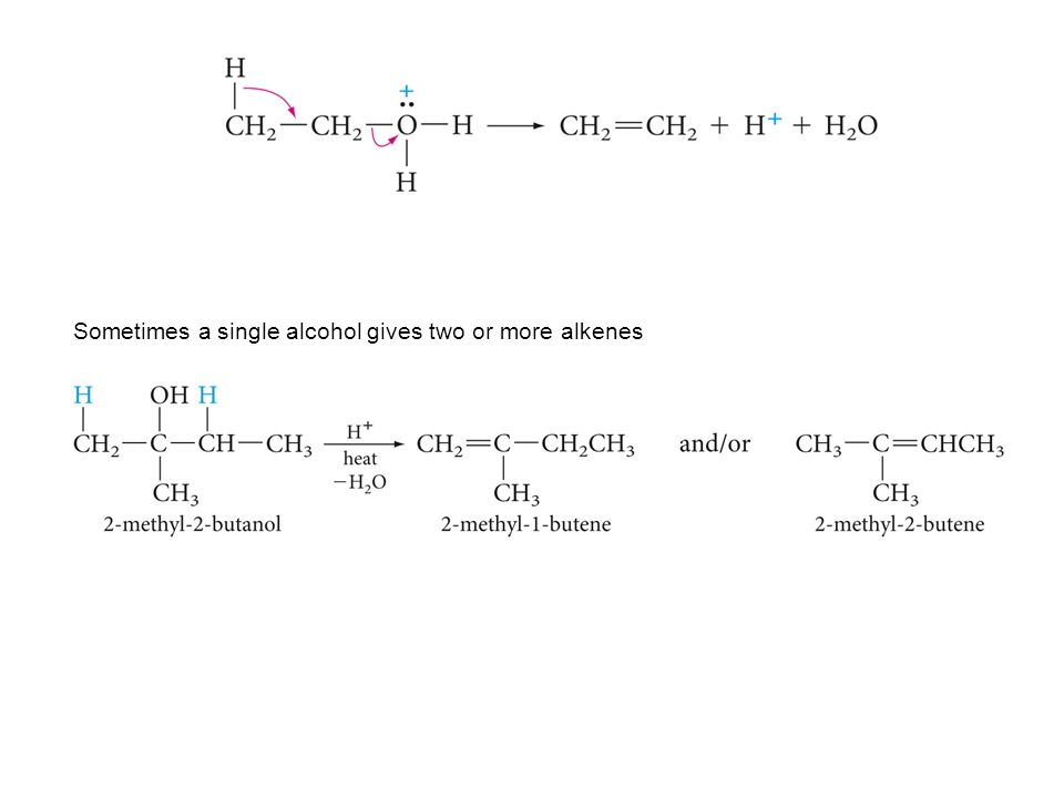 Sometimes a single alcohol gives two or more alkenes