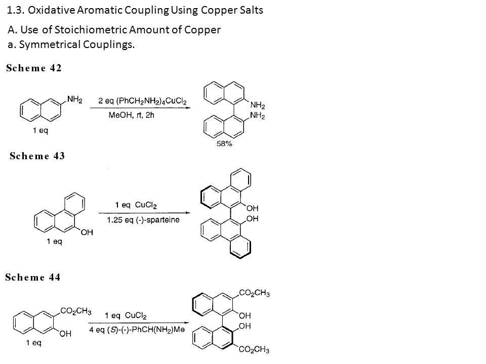 1.3. Oxidative Aromatic Coupling Using Copper Salts A.