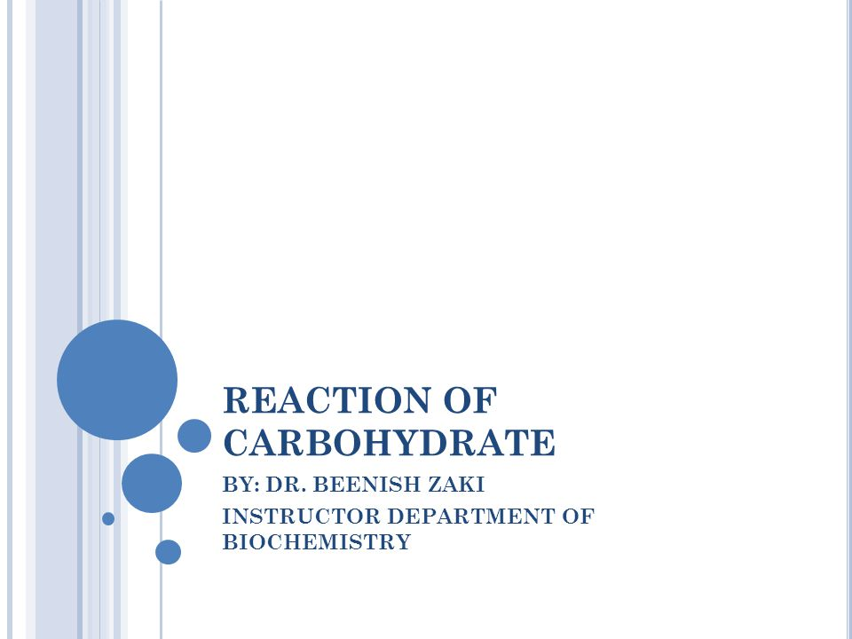 REACTION OF CARBOHYDRATE BY: DR. BEENISH ZAKI INSTRUCTOR DEPARTMENT OF BIOCHEMISTRY