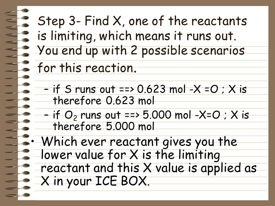 "Step 2- Moles are the only thing allowed in the ice box. Find the moles of each compound and insert that value in its ""I"" box. Moles S –20.0g S X 1 mo"