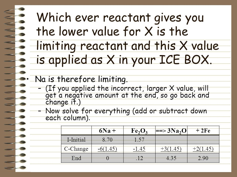 Step 3- Find X, one of the reactants is limiting, which means it runs out. You end up with 2 possible scenarios for this reaction. if Na runs out ==>