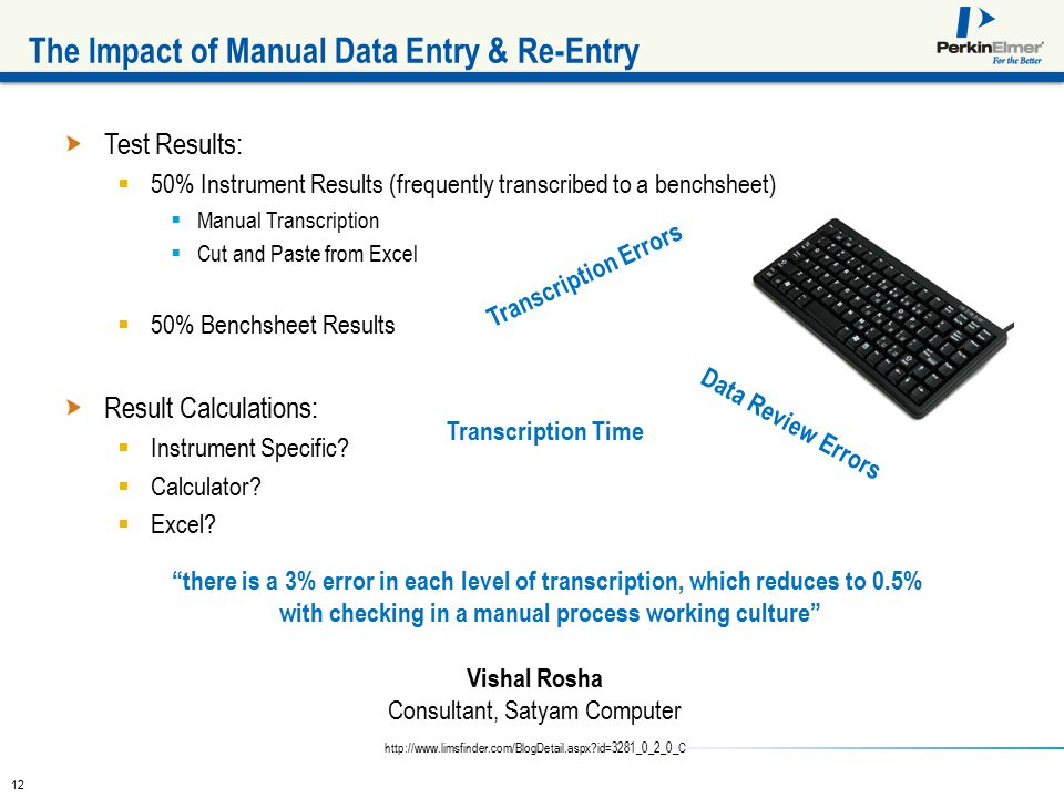 12 Test Results:  50% Instrument Results (frequently transcribed to a benchsheet)  Manual Transcription  Cut and Paste from Excel  50% Benchsheet Results Result Calculations:  Instrument Specific.