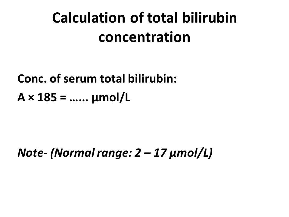 Calculation of total bilirubin concentration Conc.