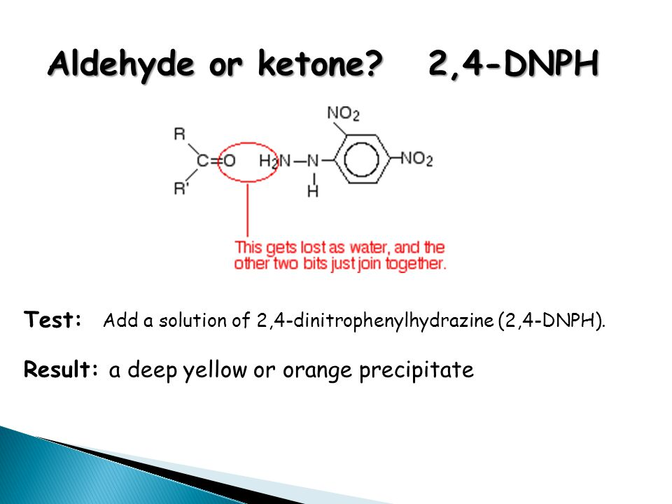 Aldehyde or ketone? 2,4-DNPH Test: Add a solution of 2,4-dinitrophenylhydrazine (2,4-DNPH). Result: a deep yellow or orange precipitate