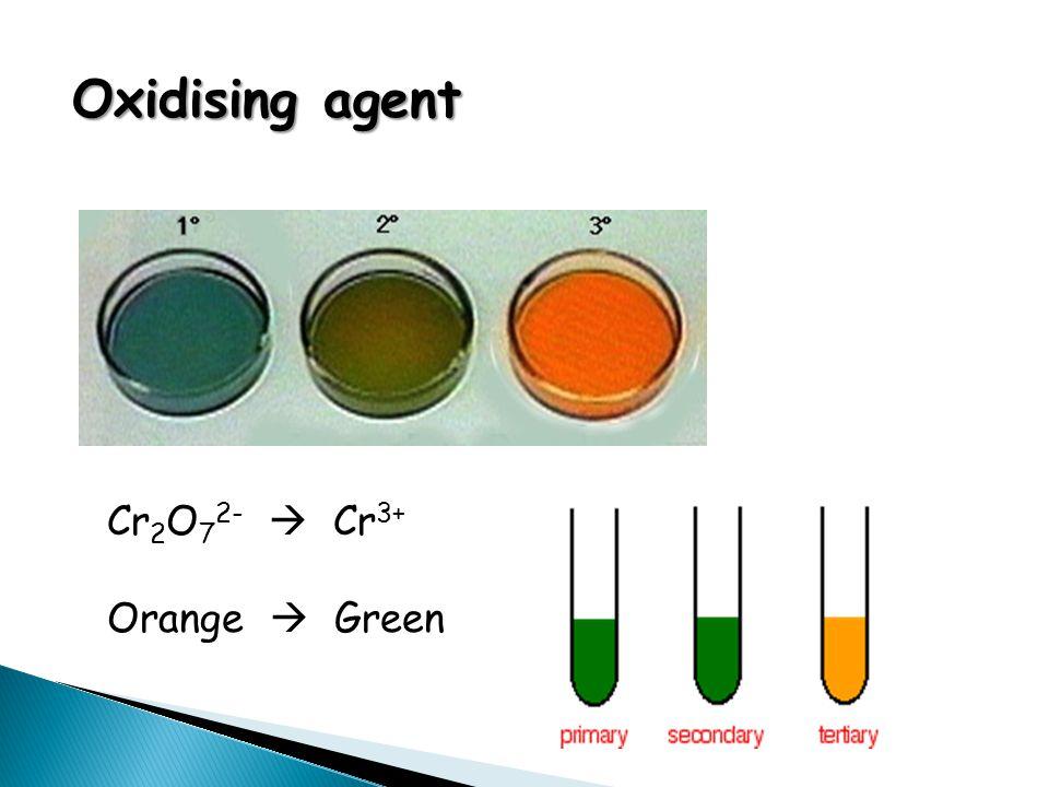 Oxidising agent Cr 2 O 7 2-  Cr 3+ Orange  Green