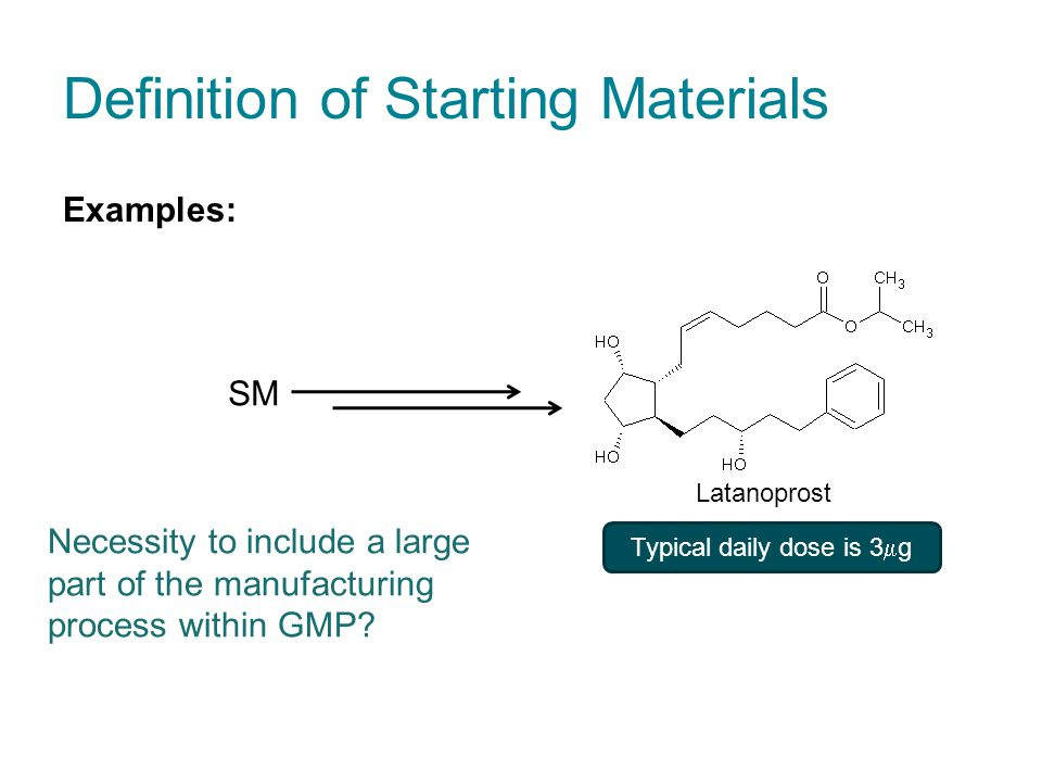 Definition of Starting Materials Examples: Typical daily dose is 3  g SM Latanoprost Necessity to include a large part of the manufacturing process within GMP