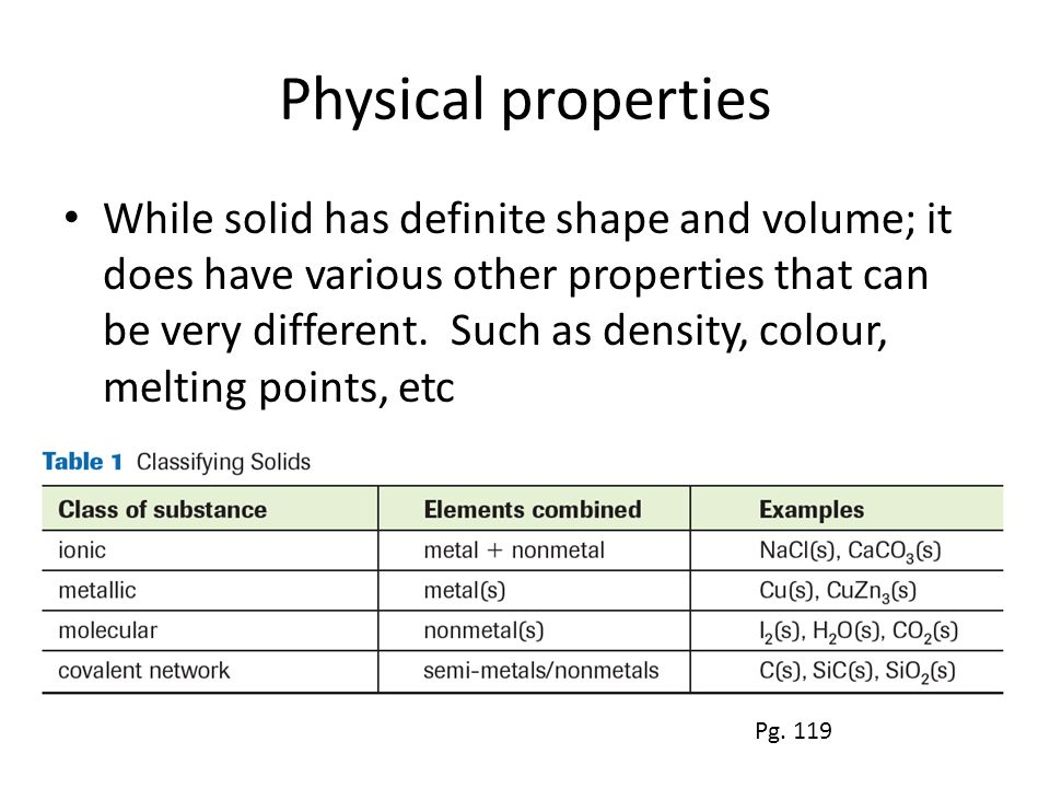 Physical properties While solid has definite shape and volume; it does have various other properties that can be very different.