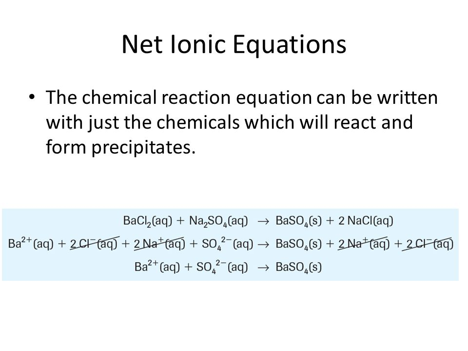 Net Ionic Equations The chemical reaction equation can be written with just the chemicals which will react and form precipitates.