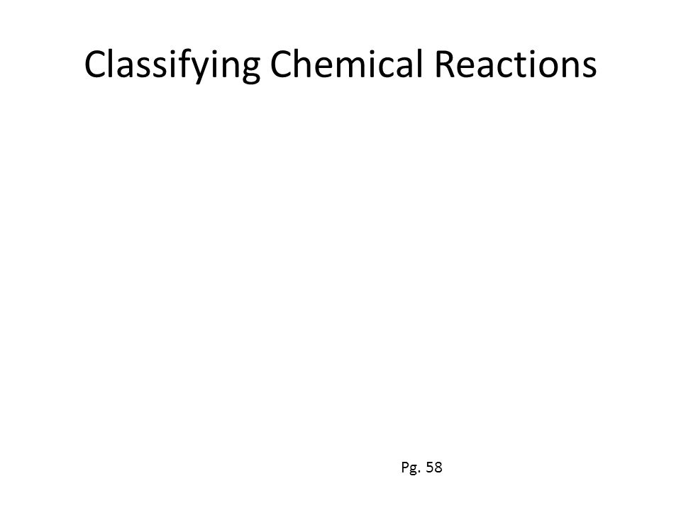 Classifying Chemical Reactions Pg. 58