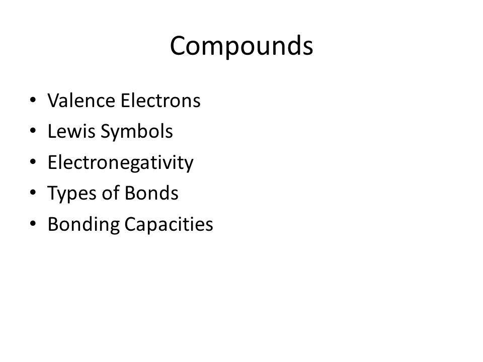 Compounds Valence Electrons Lewis Symbols Electronegativity Types of Bonds Bonding Capacities