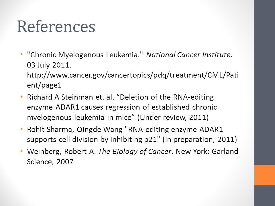 References Chronic Myelogenous Leukemia. National Cancer Institute.