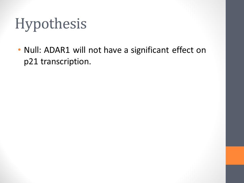 Hypothesis Null: ADAR1 will not have a significant effect on p21 transcription.