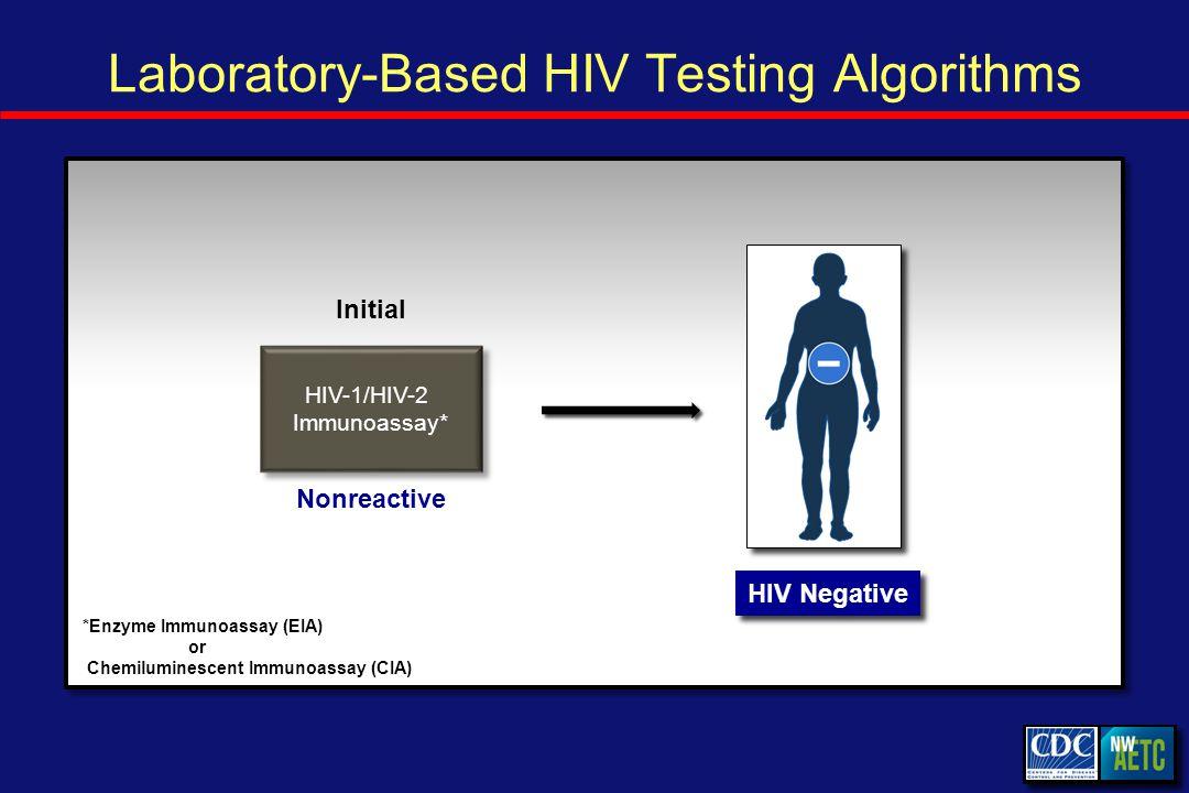 Laboratory-Based HIV Testing Algorithms Initial HIV Negative Nonreactive HIV-1/HIV-2 Immunoassay* *Enzyme Immunoassay (EIA) or Chemiluminescent Immunoassay (CIA)