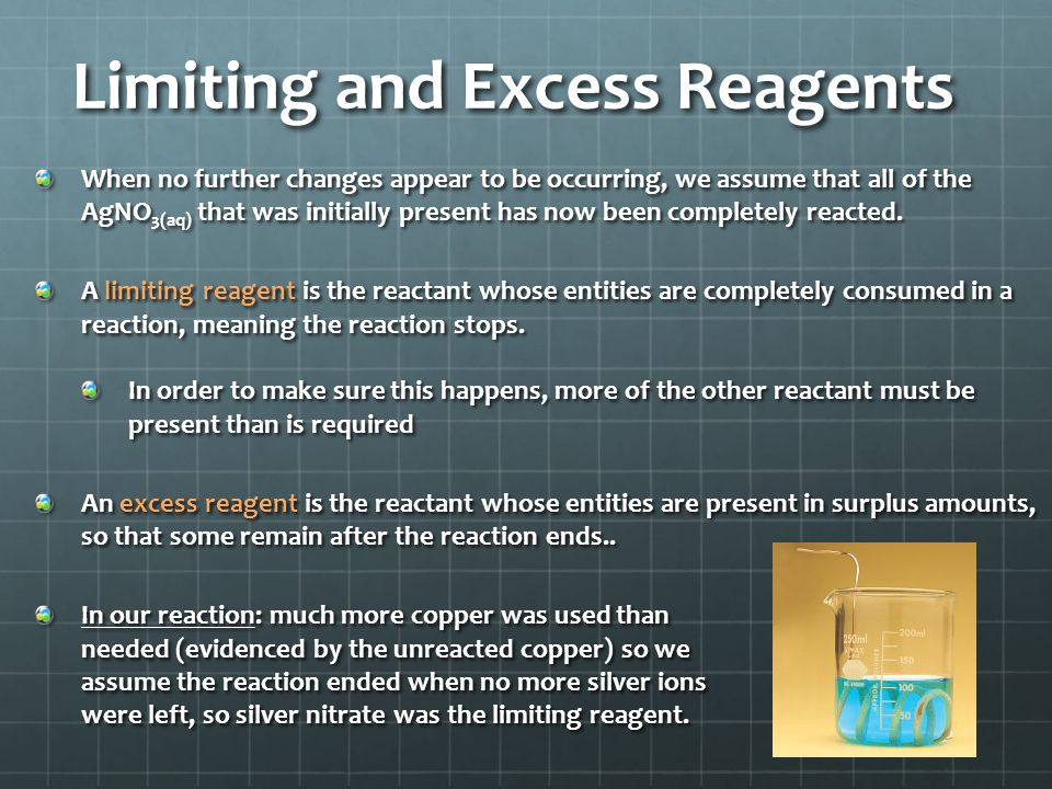 Limiting and Excess Reagents When no further changes appear to be occurring, we assume that all of the AgNO 3(aq) that was initially present has now been completely reacted.