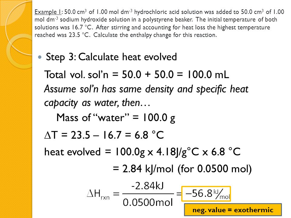 Example 1: 50.0 cm 3 of 1.00 mol dm -3 hydrochloric acid solution was added to 50.0 cm 3 of 1.00 mol dm -3 sodium hydroxide solution in a polystyrene
