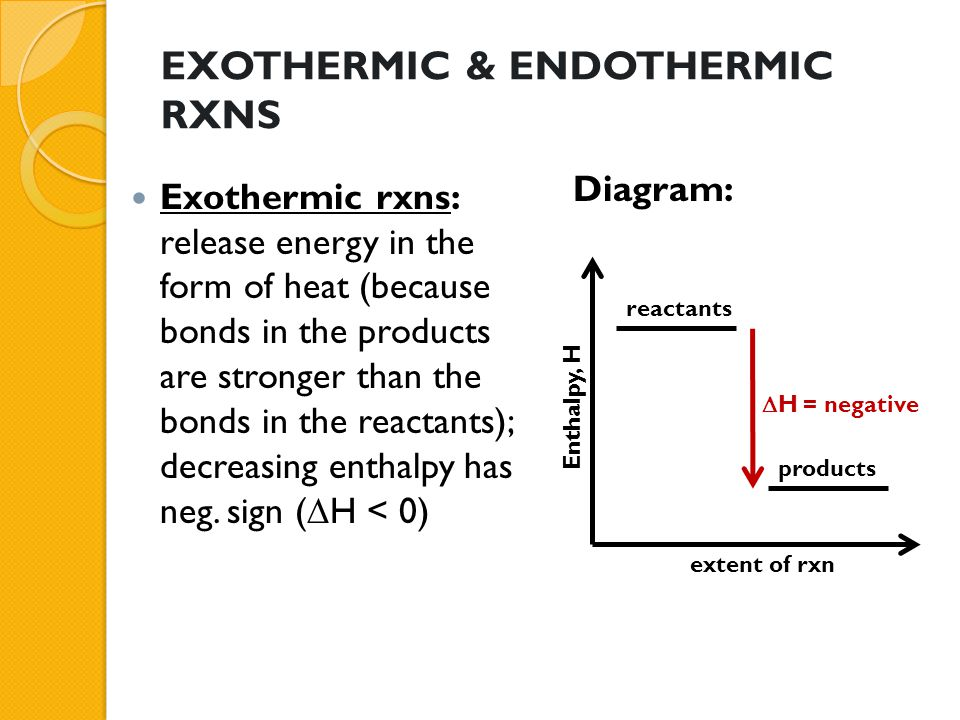 EXOTHERMIC & ENDOTHERMIC RXNS Endothermic rxns: absorb energy in the form of heat; increasing enthalpy, positive value (  H > 0) Diagram: Enthalpy, H reactants products extent of rxn  H = positive
