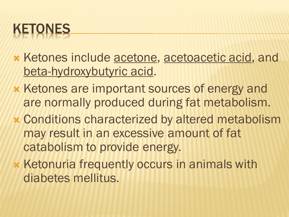  Ketones include acetone, acetoacetic acid, and beta-hydroxybutyric acid.  Ketones are important sources of energy and are normally produced during