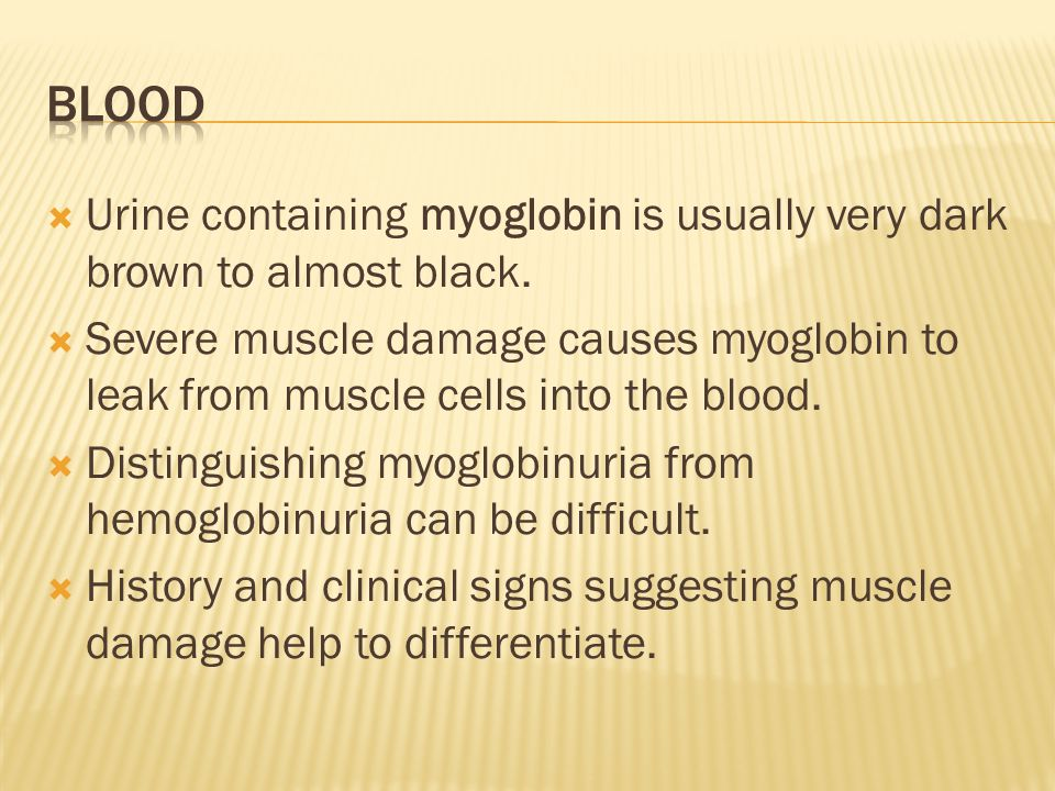  Urine containing myoglobin is usually very dark brown to almost black.  Severe muscle damage causes myoglobin to leak from muscle cells into the bl