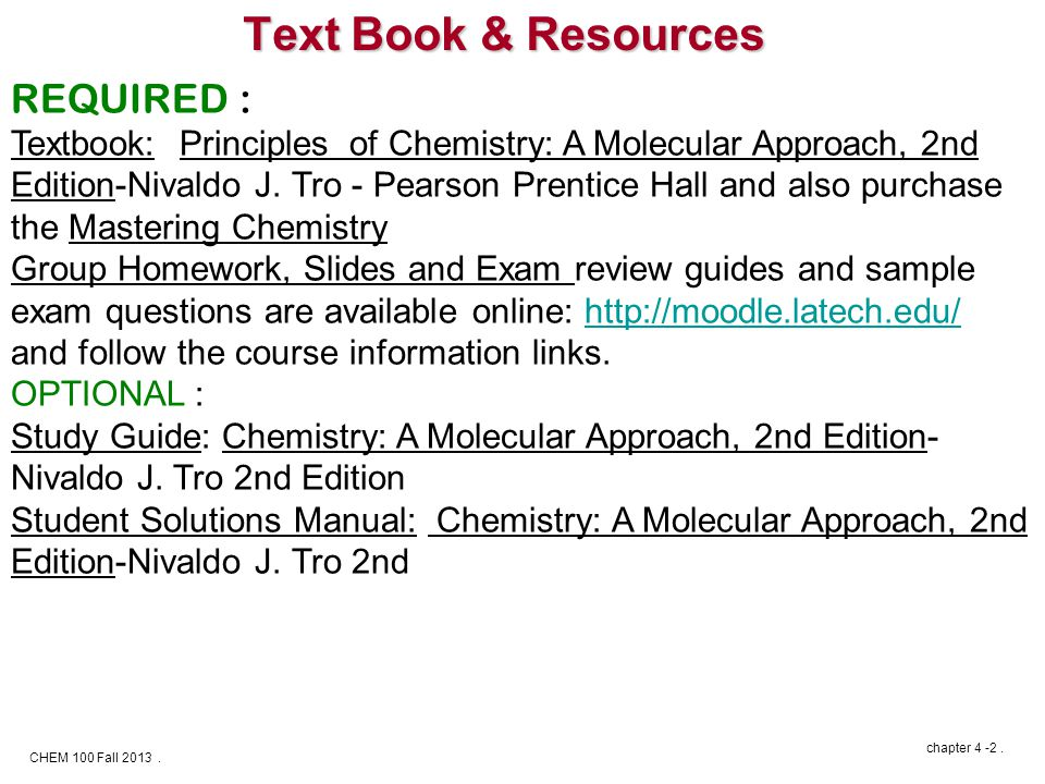 CHEM 100 Fall 2013. chapter 4 -2.