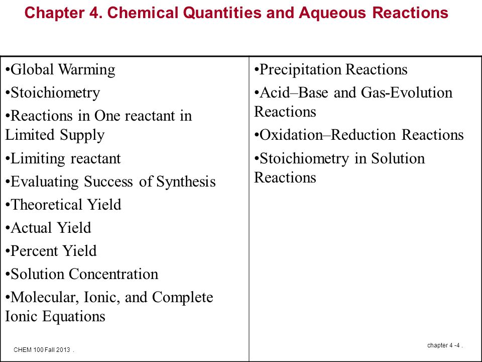 CHEM 100 Fall 2013. chapter 4 -4. Chapter 4.