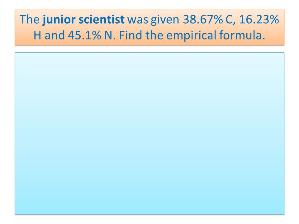 The junior scientist was given 38.67% C, 16.23% H and 45.1% N. Find the empirical formula.