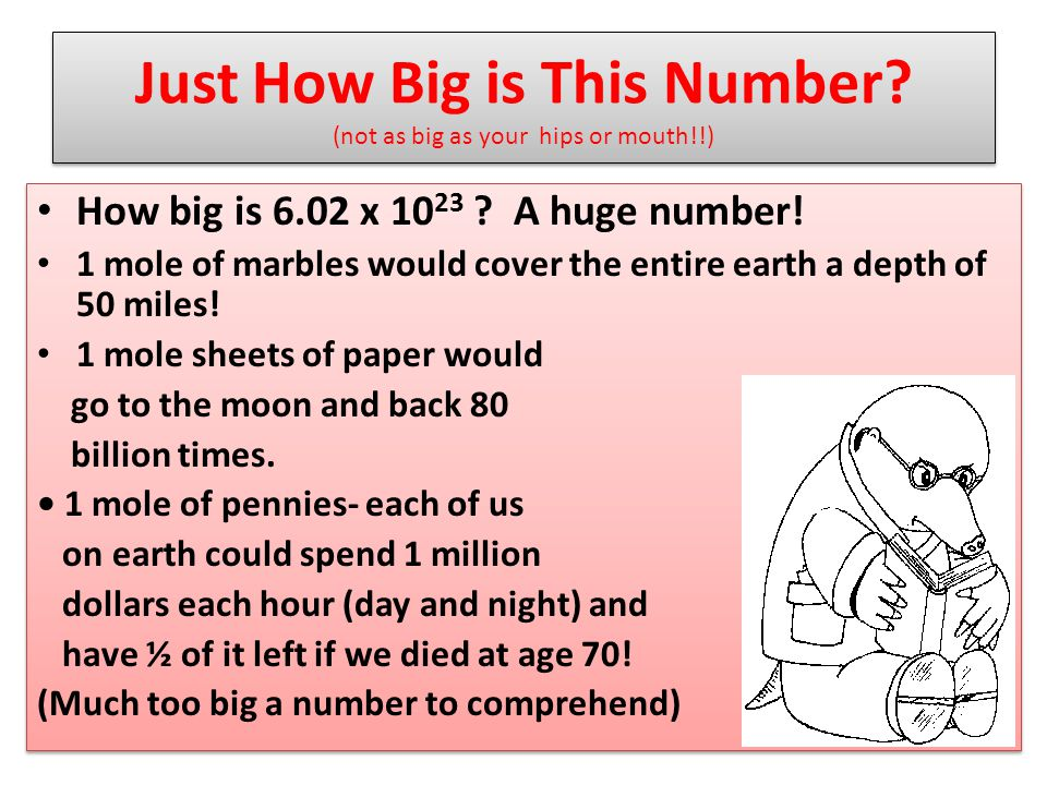 Just How Big is This Number.(not as big as your hips or mouth!!) How big is 6.02 x 10 23 .