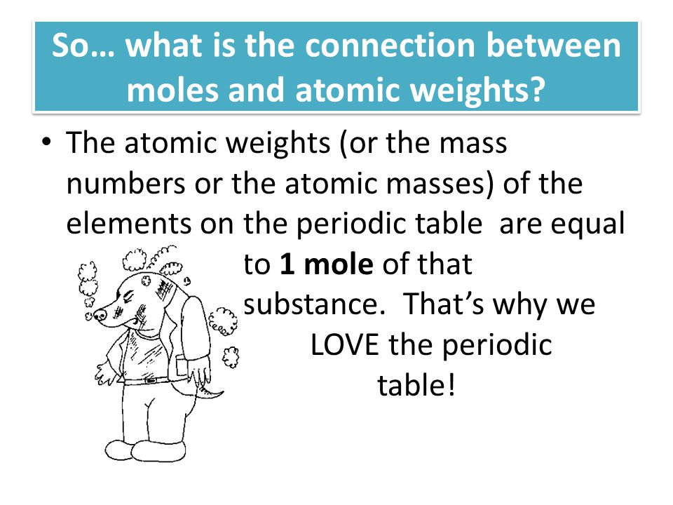 So… what is the connection between moles and atomic weights.