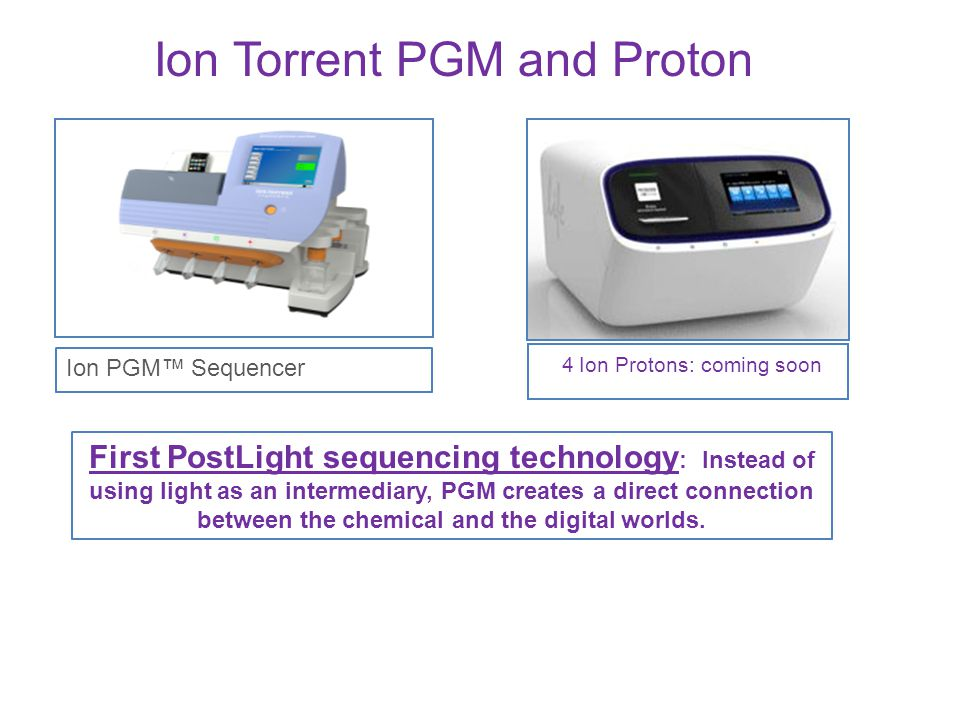 4 Ion Protons: coming soon Ion PGM™ Sequencer Ion Torrent PGM and Proton First PostLight sequencing technology : Instead of using light as an intermed
