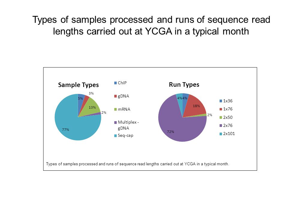 Types of samples processed and runs of sequence read lengths carried out at YCGA in a typical month. Types of samples processed and runs of sequence r