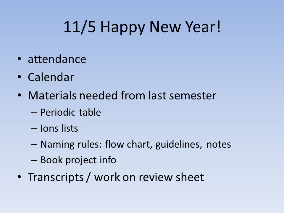 11/5 Happy New Year! attendance Calendar Materials needed from last semester – Periodic table – Ions lists – Naming rules: flow chart, guidelines, not