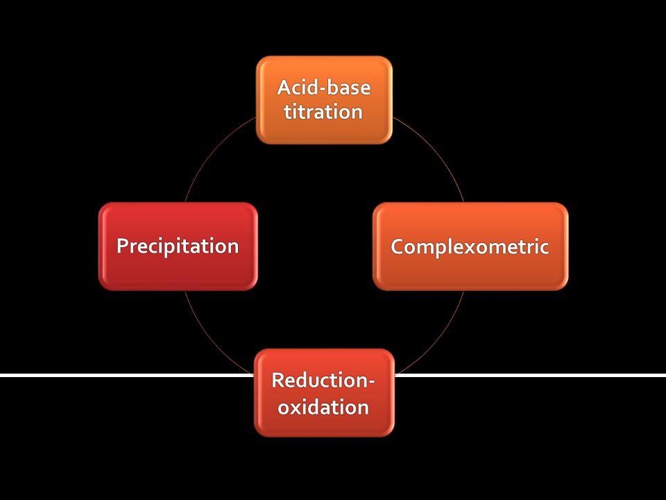 Acid-base titration Complexometric Reduction- oxidation Precipitation