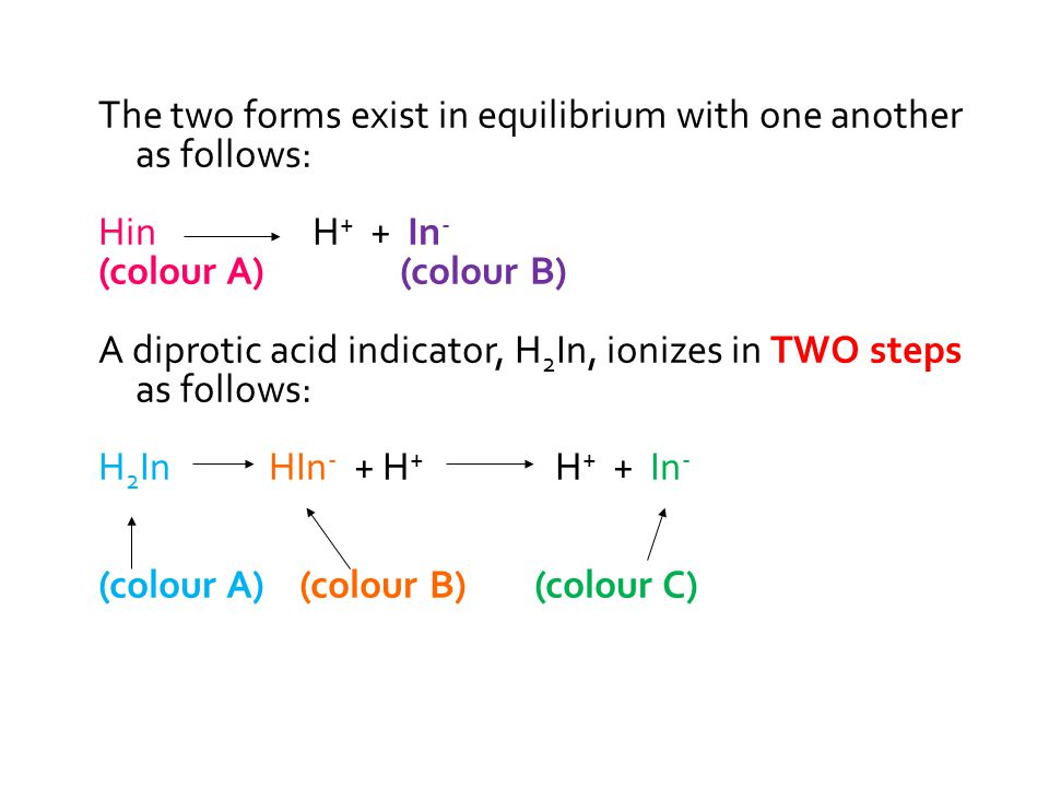 The two forms exist in equilibrium with one another as follows: Hin H + + In - (colour A) (colour B) A diprotic acid indicator, H 2 In, ionizes in TWO steps as follows: H 2 In HIn - + H + H + + In - (colour A) (colour B) (colour C)