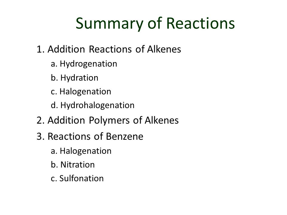 Summary of Reactions 1. Addition Reactions of Alkenes a.