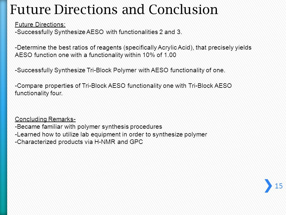Future Directions and Conclusion 15 Future Directions: -Successfully Synthesize AESO with functionalities 2 and 3.