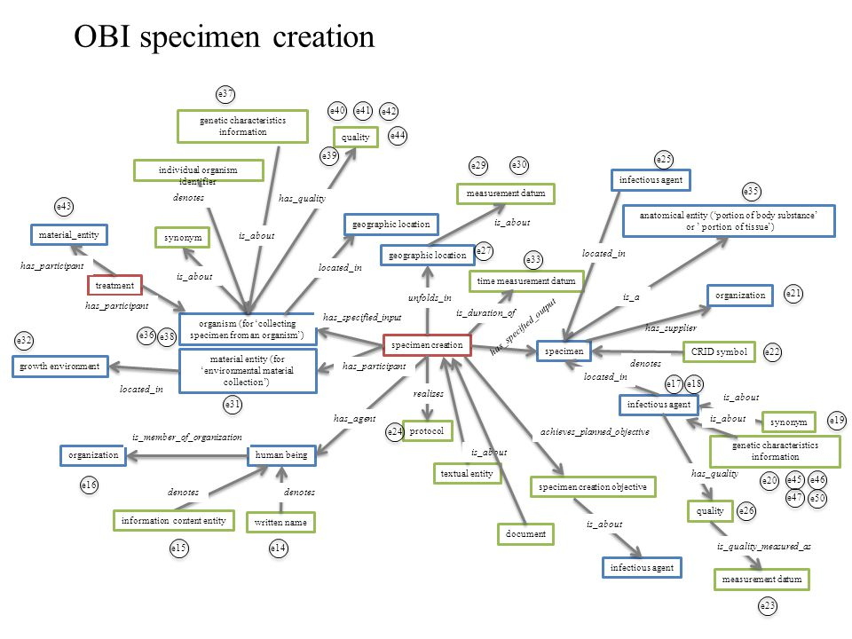 OBI specimen creation organism (for 'collecting specimen from an organism') human being synonym individual organism identifier quality geographic location specimen infectious agent specimen creation protocol has_specified_output realizes unfolds_in denotes has_quality is_about located_in has_specified_input geographic location time measurement datum is_duration_of material entity (for 'environmental material collection') has_participant organization is_member_of_organization e21 written name denotes e22 CRID symbol denotes e24 textual entity is_about document measurement datum is_about anatomical entity ('portion of body substance' or ' portion of tissue') is_a specimen creation objective achieves_planned_objective infectious agent is_about e17 e18 synonym e19 is_about organization has_supplier quality has_quality e26 measurement datum e23 is_quality_measured_as infectious agent e25 e27 e29 e30 e31 e32 e33 located_in growth environment e35 e36 e40e41 e42 e44 treatment material_entity has_participant e43 genetic characteristics information is_about e37 genetic characteristics information is_about e20 e39 e38 located_in e45e46 e47 e50 e14 e16 e15 information content entity denotes has_agent