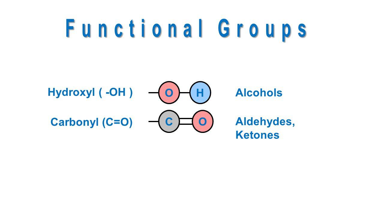 Hydroxyl ( -OH ) Carbonyl (C=O) OHCO Alcohols Aldehydes, Ketones