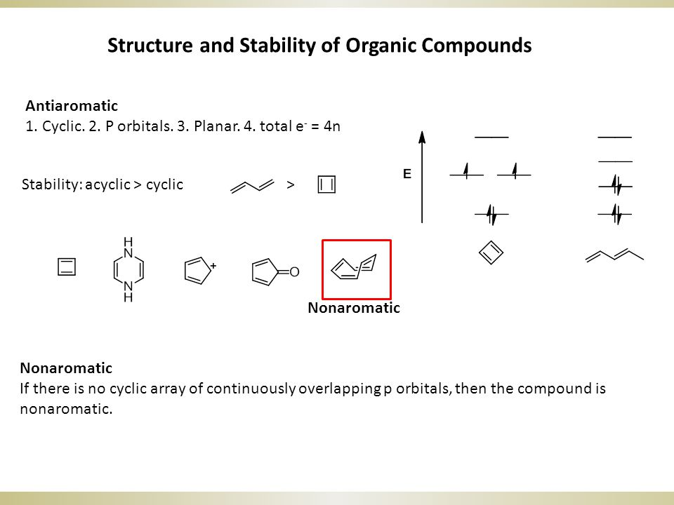 Stability: acyclic > cyclic > Nonaromatic If there is no cyclic array of continuously overlapping p orbitals, then the compound is nonaromatic.