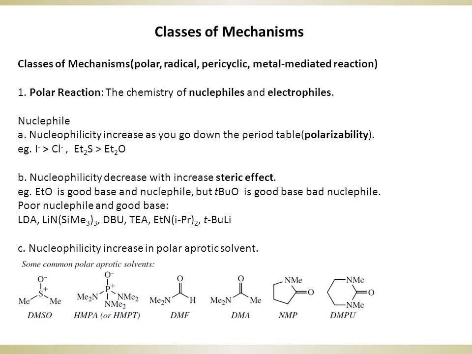 Classes of Mechanisms Classes of Mechanisms(polar, radical, pericyclic, metal-mediated reaction) 1.