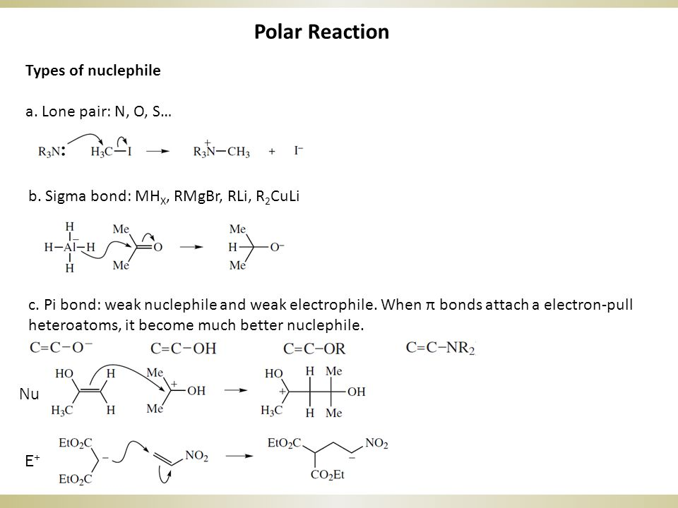 Polar Reaction Types of nuclephile a. Lone pair: N, O, S… b.