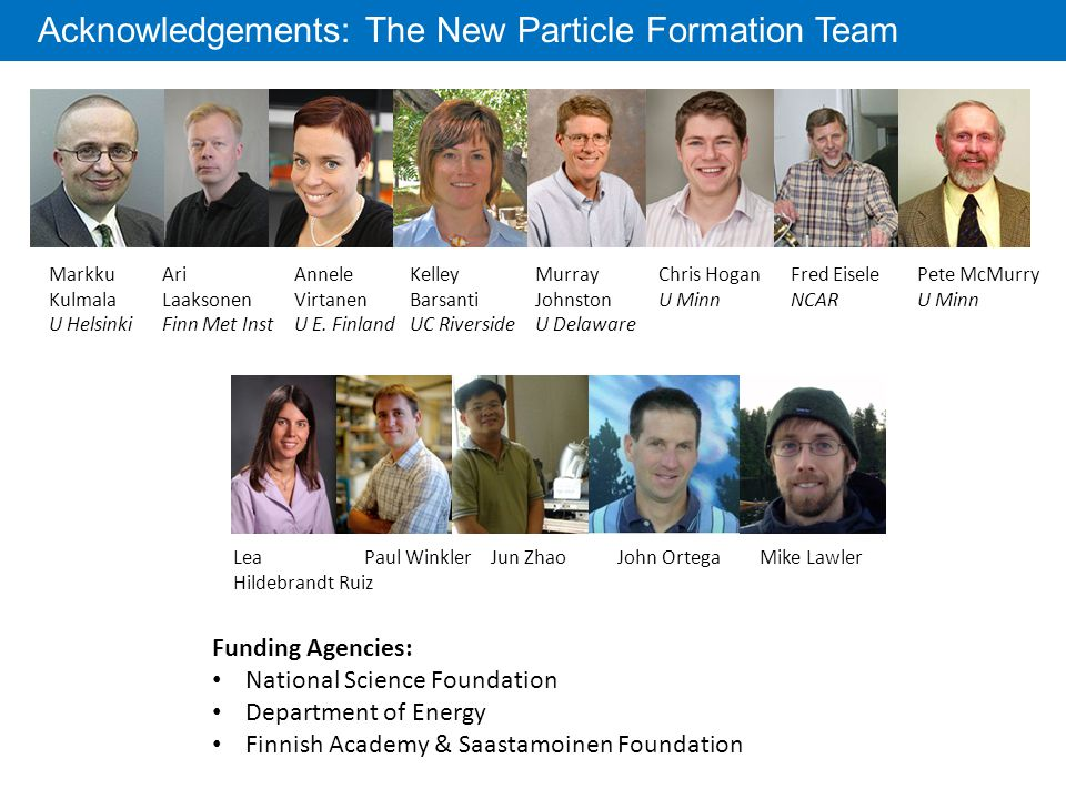 Acknowledgements: The New Particle Formation Team Markku Kulmala U Helsinki Ari Laaksonen Finn Met Inst Annele Virtanen U E.