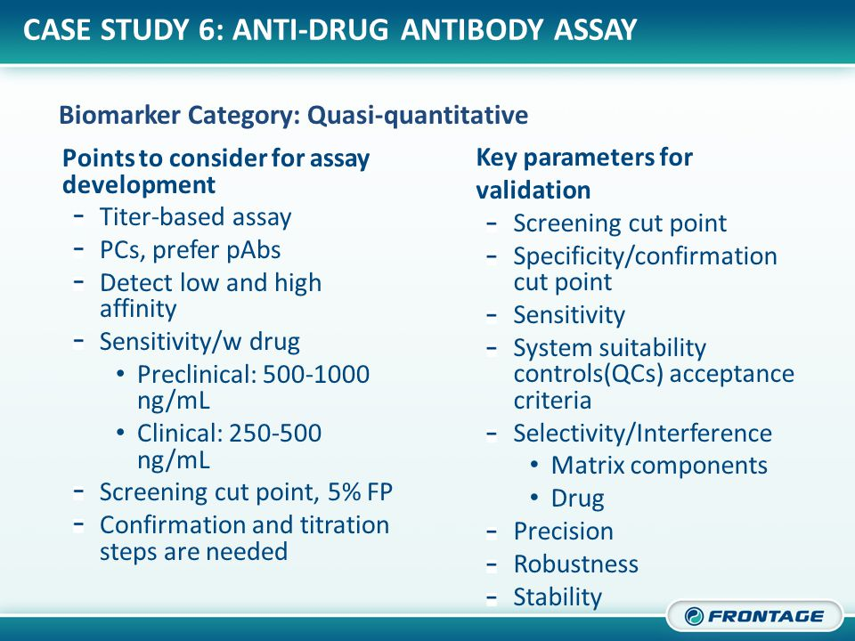 CORPORATE OVERVIEW Points to consider for assay development Titer-based assay PCs, prefer pAbs Detect low and high affinity Sensitivity/w drug Preclinical: 500-1000 ng/mL Clinical: 250-500 ng/mL Screening cut point, 5% FP Confirmation and titration steps are needed Key parameters for validation Screening cut point Specificity/confirmation cut point Sensitivity System suitability controls(QCs) acceptance criteria Selectivity/Interference Matrix components Drug Precision Robustness Stability Biomarker Category: Quasi-quantitative CASE STUDY 6: ANTI-DRUG ANTIBODY ASSAY
