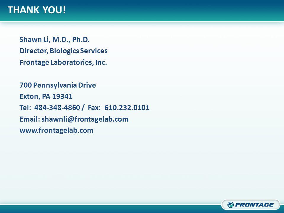 CORPORATE OVERVIEW Shawn Li, M.D., Ph.D. Director, Biologics Services Frontage Laboratories, Inc.