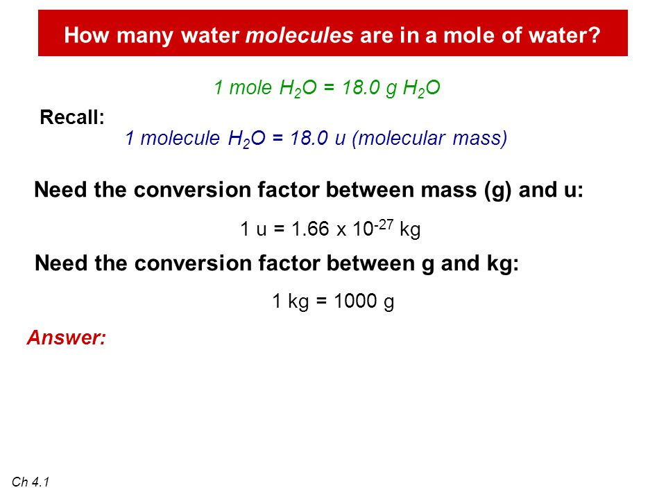 How many water molecules are in a mole of water.