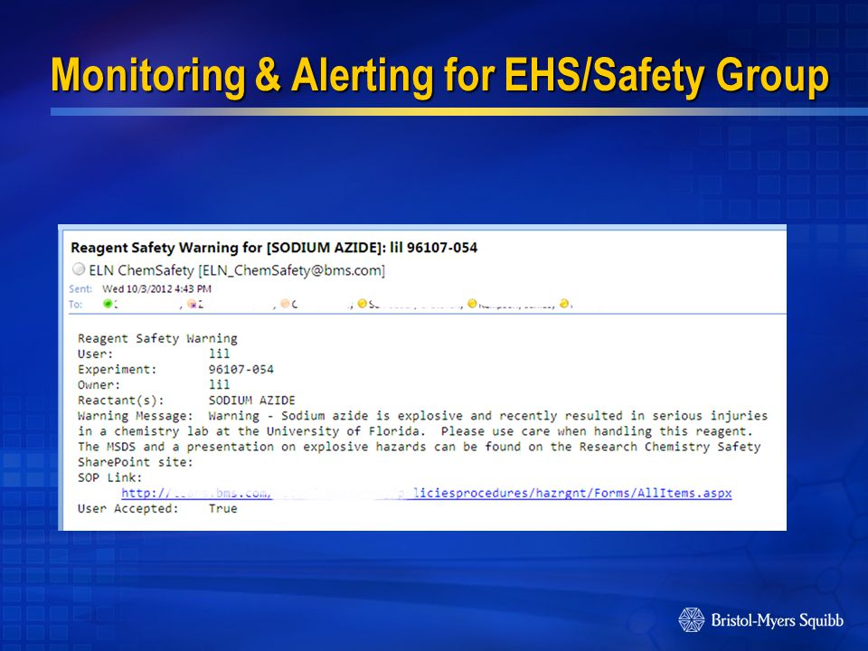 Monitoring & Alerting for EHS/Safety Group